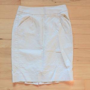 J. Crew ivory the pencil skirt sz 0 double serge